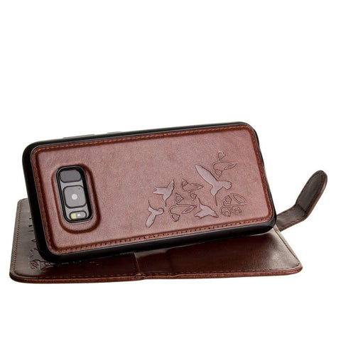 Embossed Humming Bird Design Wallet Case With Matching Removable And Wristlet Brown Phone Wallets Wristlets & Clutches