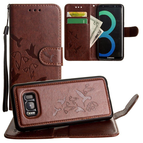 Image of Embossed Humming Bird Design Wallet Case with Matching Removable Case and Wristlet, Brown for Samsung Galaxy S8