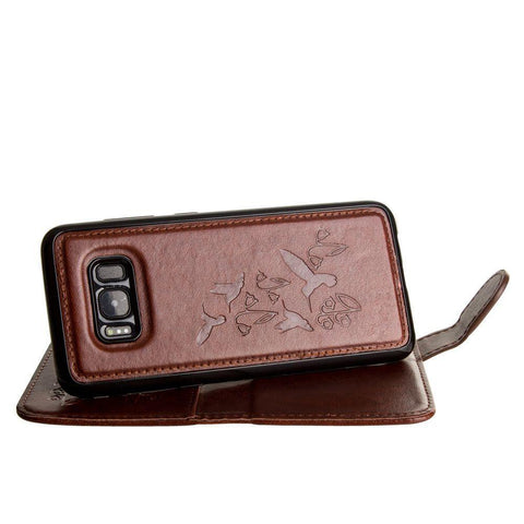 Embossed Humming Bird Design Wallet Case with Matching Removable Case and Wristlet, Brown for Samsung Galaxy S8