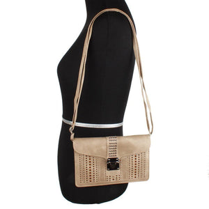 Studded Laser Cut Crossbody Bag Buckle Closure with Adjustable Strap, Taupe