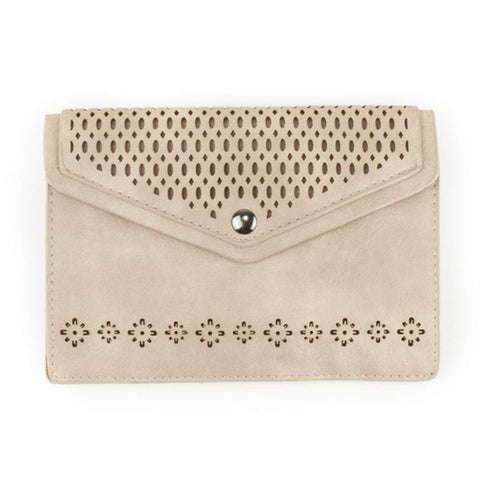 Vegan Suede Laser Cut Envelope Crossbody Bag with Adjustable Strap, Ivory