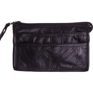 Genuine Leather Stitched Pieces Crossbody, Black