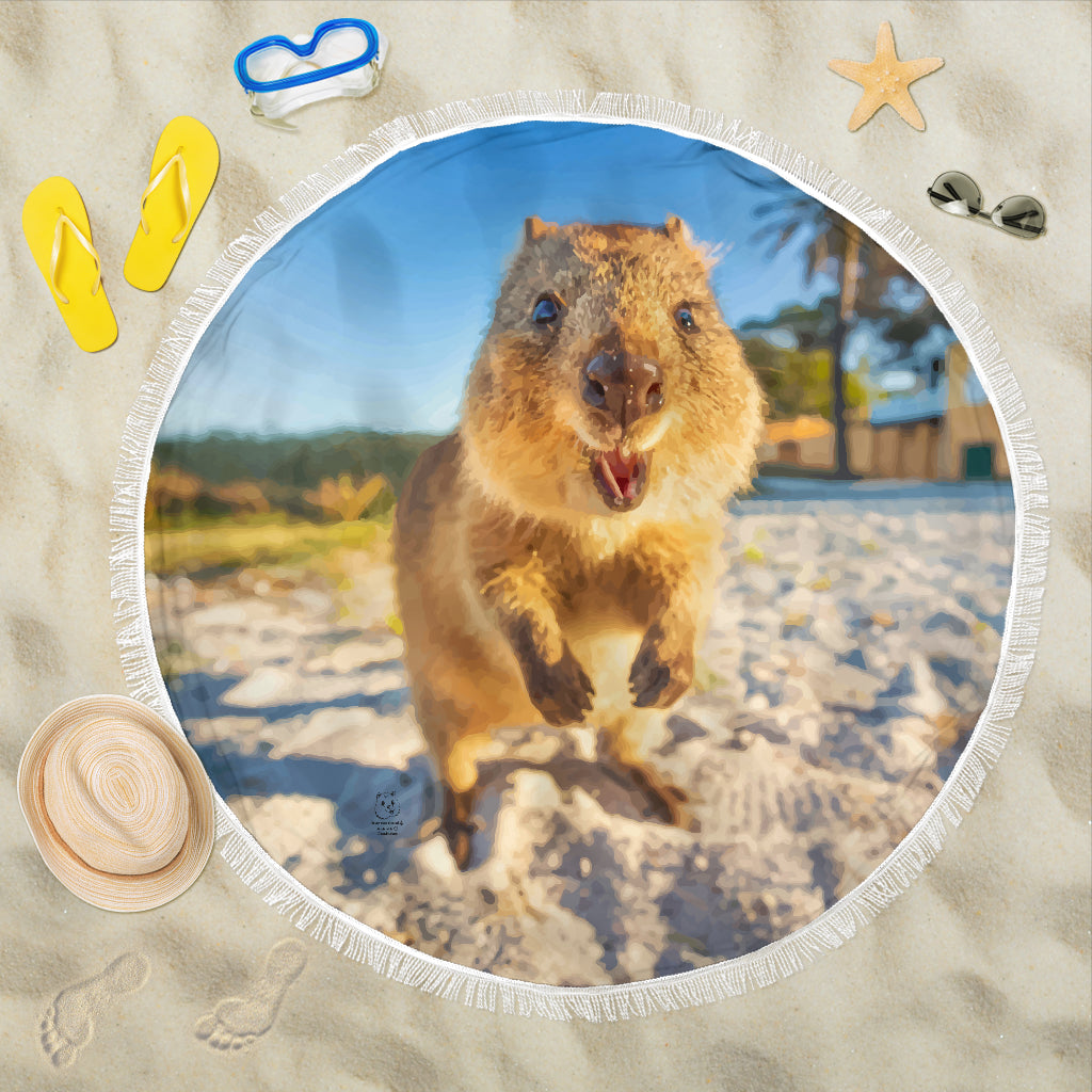 Quokka Round Beach Blanket - Smile Bright