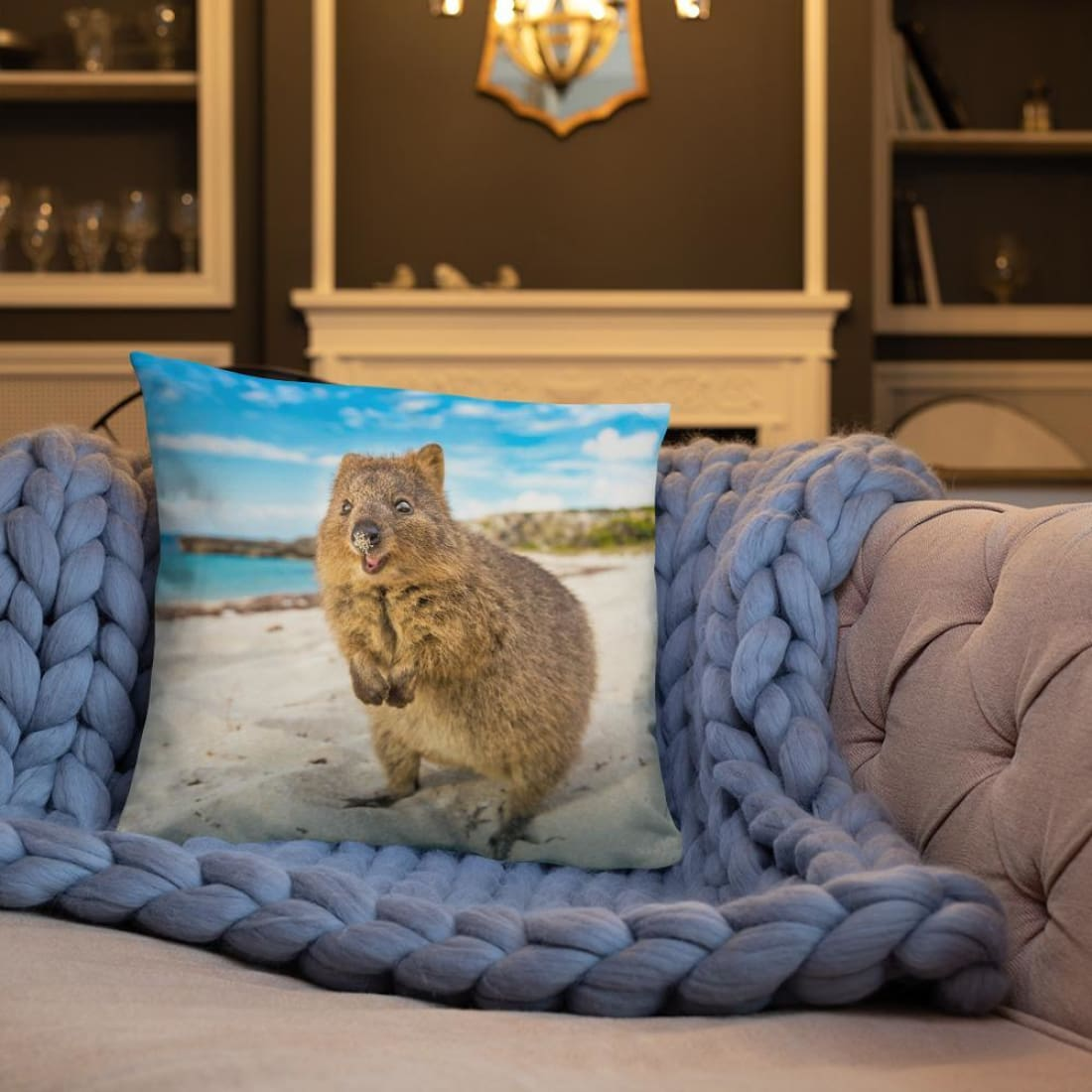 Quokka Smile Throw Pillow Case - Square-Quokka Hub