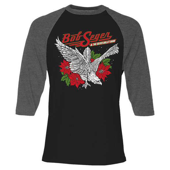 Poinsettia Eagle Holiday Raglan Shirt