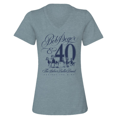 Against The Wind 40th Anniversary Ladies V-Neck Tee