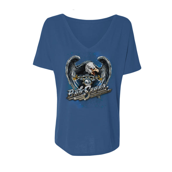 Ladies Motorcycle Eagle Slouchy V-Neck Tee