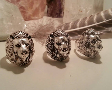 Lion Totem Ring, Totem Ring, Silver Lion ring, Sterling Silver mens ring, by Soto Collective