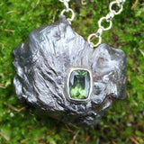 Faceted Moldavite and Meteorite Jewellery by Soto Collective. Sikhote Alin pendant