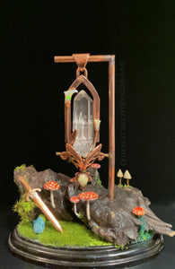 Fae Castle Relic pendant on chain, included bonus stand