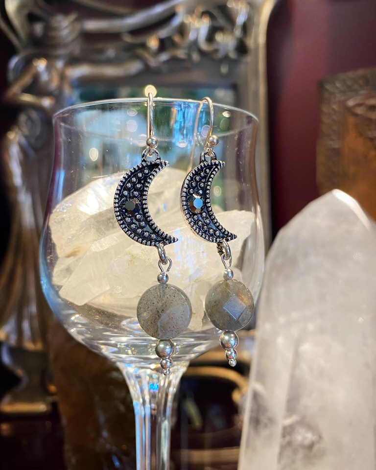 Crescent Moon Labradorite earrings