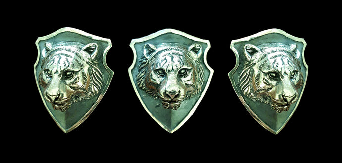 Tiger Totem Silver Shield Pendant