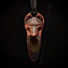 Load image into Gallery viewer, Wolf Totem pendant with Rainbow Obsidian