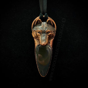 Wolf Totem pendant with Rainbow Obsidian