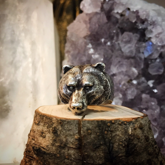 Bear Totem Silver Ring by artist Aaron Hofman of Soto Collective, Silver Bear Ring, Silver Bear Totem ring, Bear jewellery, Bear Totem jewellery