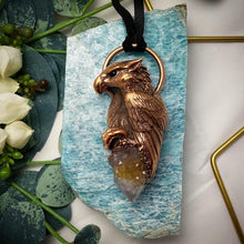 Load image into Gallery viewer, Griffon with Spirit Quartz Totem pendant on leather necklace
