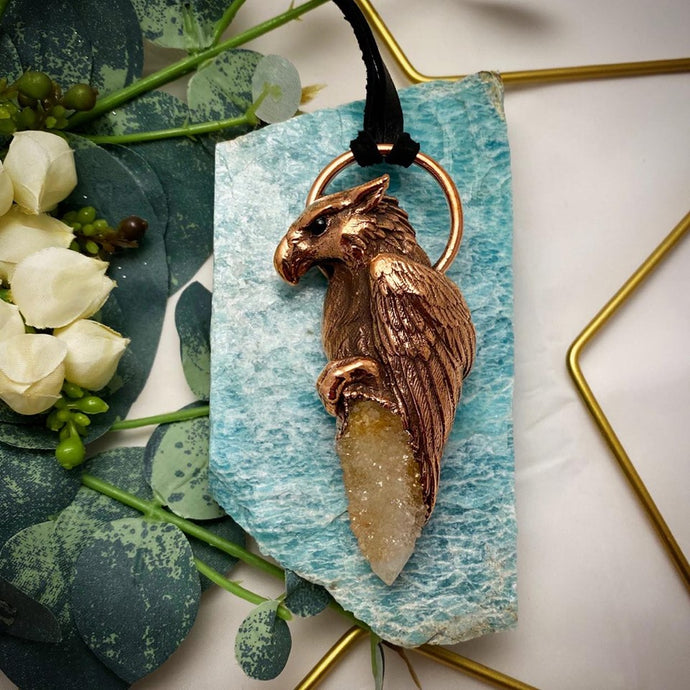 Griffon with Spirit Quartz Totem pendant on leather necklace