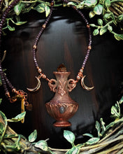 Load image into Gallery viewer, Citrine and Purple Jadeite Potion bottle Relic beaded necklace