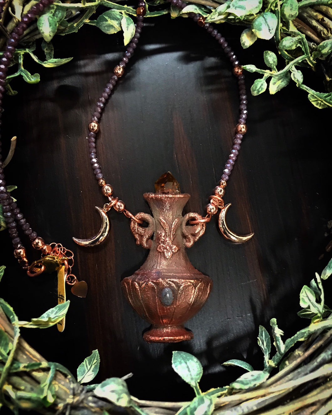 Citrine and Purple Jadeite Potion bottle Relic beaded necklace