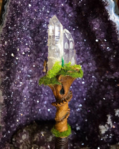 Faerie Castle Wand, Crystal Wand by Soto Collective, Magick wand by Soto Collective, gemstone carving, gemstone Castle, Crystal Castle