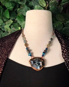 Bismuth and Aura Plated Labradorite beaded necklace