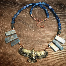 Load image into Gallery viewer, Eagle necklace - Aquarmarine, Kyanite and Pyrite