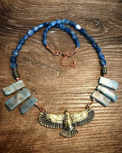 Eagle necklace - Aquarmarine, Kyanite and Pyrite