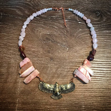 Load image into Gallery viewer, Eagle necklace - Peruvian Pink Opal, Pink Rubellite and Rose Quartz