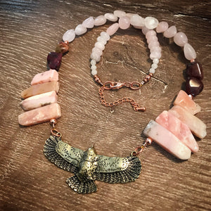 Eagle necklace - Peruvian Pink Opal, Pink Rubellite and Rose Quartz
