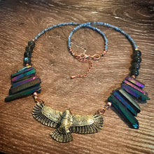 Load image into Gallery viewer, Eagle necklace - Rainbow Aura points and Labradorite