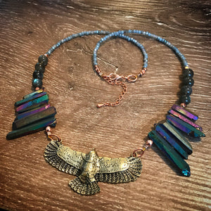Eagle necklace - Rainbow Aura points and Labradorite