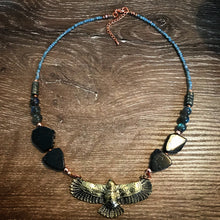 Load image into Gallery viewer, Eagle necklace - Black Tourmaline Slices, Labradorite and Pyrite