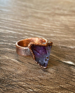 Amethyst Cluster Copper Ring by Soto Collective, Amethyst ring,  amethyst crystal ring, purple crystal ring