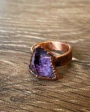 Load image into Gallery viewer, Amethyst Cluster Copper Ring by Soto Collective, Amethyst ring,  amethyst crystal ring, purple crystal ring