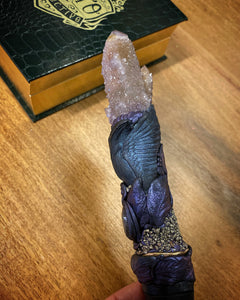 The Raven's Song | Spirit Quartz, Labradorite and Pyrite wand