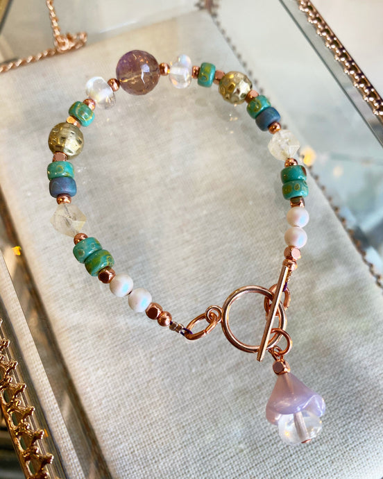 Ametrine, Citrine, Swarovski Pearlescent bead and Czech Glass bead bracelet hand made by Soto Collective