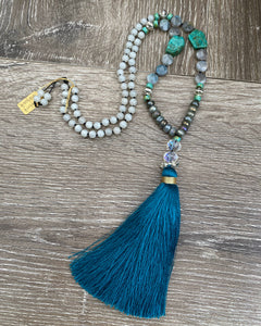 Labradorite and Amazonite Mala necklace