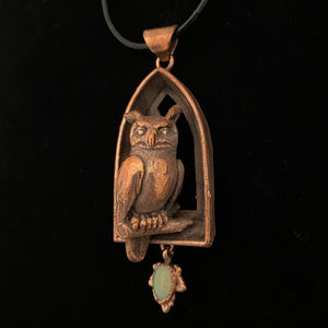 Horned Owl Totem on Arch Window with Opal Leaf necklace
