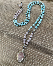 Load image into Gallery viewer, Larimar and Rose Quartz arrow head Mala necklace