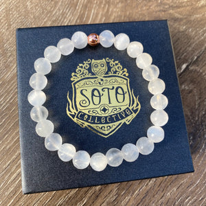 Selenite crystal bead bracelet