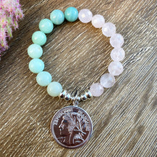 Load image into Gallery viewer, Amazonite X Rose Quartz | Two tone crystal bracelet