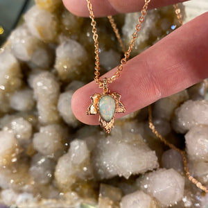 White Opal Leaf Relic Pendant  Necklace