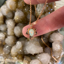 Load image into Gallery viewer, White Opal Leaf Relic Pendant  Necklace