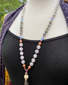Crystal bead Mala Prayer bead necklace