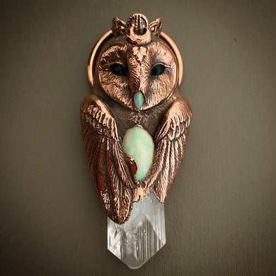 Barn Owl Totem Pendant with Danburite Crystal, White Opal Heartstone and Opal beak