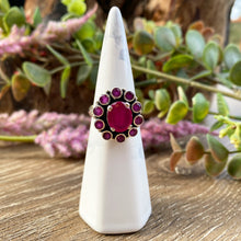 Load image into Gallery viewer, Ruby Flower sterling silver ring
