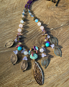 Dragonfly wing multi stone crystal necklace
