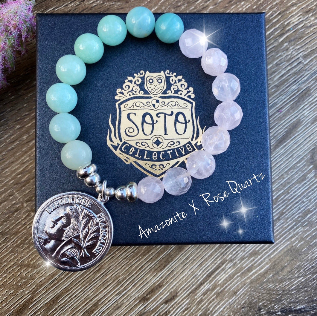 Amazonite X Rose Quartz | Two tone crystal bracelet