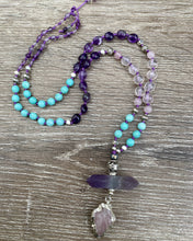 Load image into Gallery viewer, Rose Quartz arrowhead and Amethyst Mala necklace