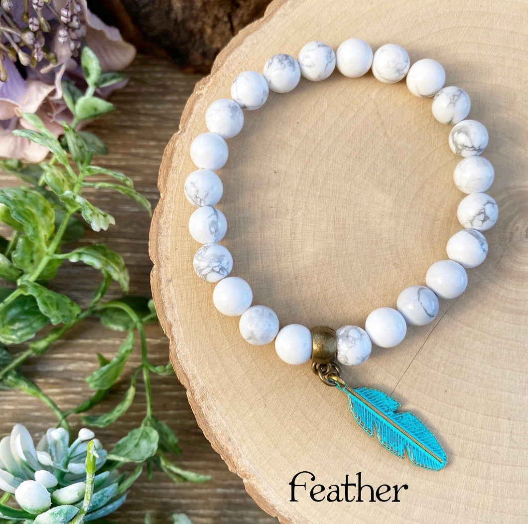 White Howlite - Feather Crystal bracelet